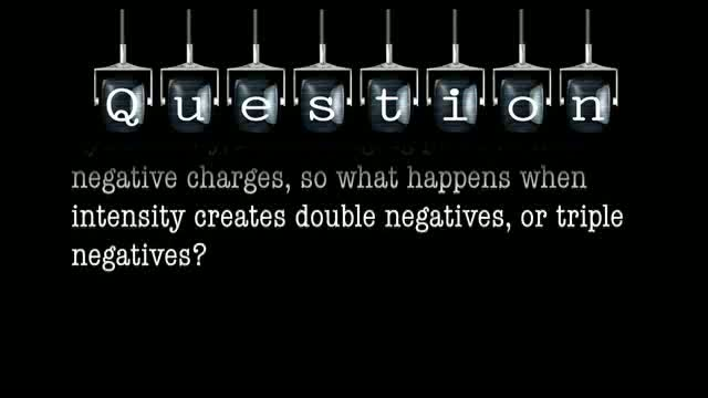 In order for a story to work, it must develop dynamically, interchanging positive with negative charges, so what happens when intensity creates double negatives, or triple negatives?