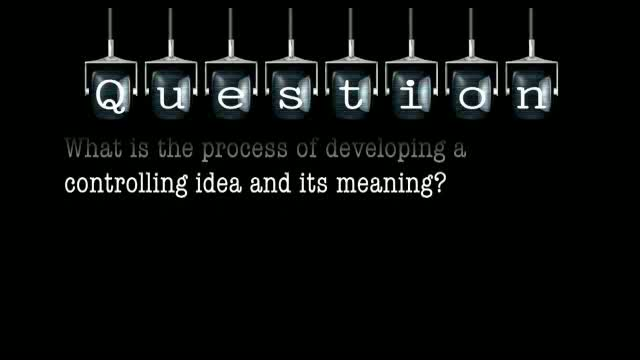 What is the process of developing a controlling idea and its meaning?