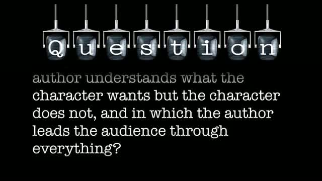Can you name a film in which the author understands what the character wants but the character does not, and in which the author leads the audience through everything?